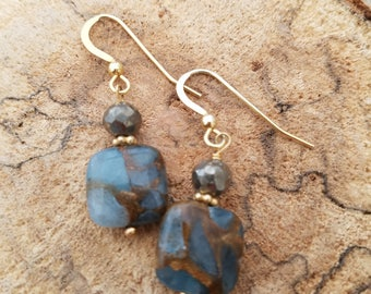 Aqua Quartz Pyrite Drop Earrings Gold Vermiel