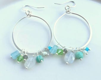 Silver Hoop Gemstone Earrings
