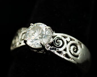 Sterling Silver Ring set with an 8mm Clear Faceted Crystal - Pierced Design Vintage