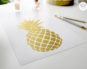 Pineapple Print, Pineapple Wall Art, Gold Pineapple, Printable Pineapple, Tropical Print, Pineapple, Pineapple Art, Pineapple Home Decor