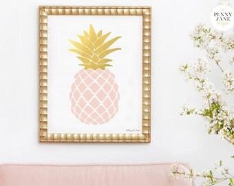 Pineapple Print, Pineapple Art, Pink Quartz and Gold Pineapple Decor Wall Art Printable Digital Art Office Decor, Summer Art, Office Decor