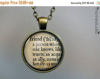 ON SALE - Friend Definition : Glass Dome Necklace, Pendant or Keychain Key Ring. Gift Present metal round art photo jewelry by HomeStudio