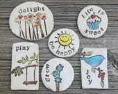 MudHutt magnets, magnet collection, Set of 6 Refridgerator Magnets, bluebird pottery, bloom, wish, dandelion, joy, play, swing,fly, inspire