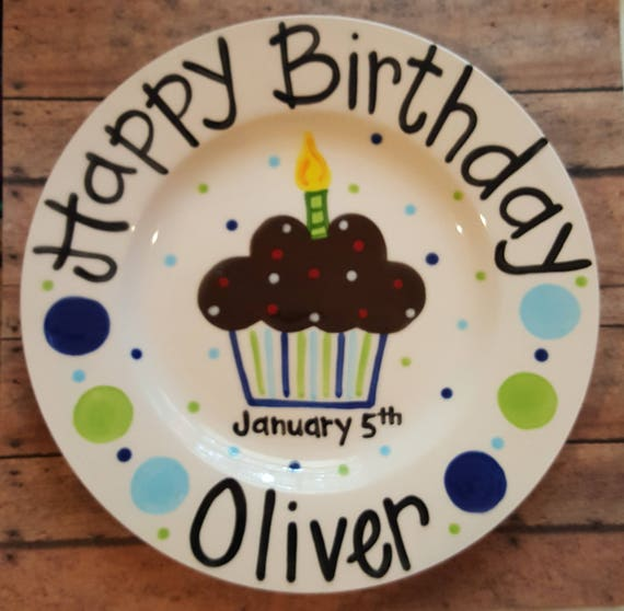 Like this item?  sc 1 st  Etsy & 8 inch Personalized Ceramic Birthday Plate Custom Painted