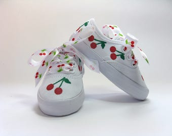 Cherry Shoes, Hand Painted White Cotton Canvas Sneakers for Baby or Toddlers, Red Cherry Fruit Outfit