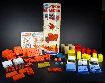 Vintage 1970's Tinkertoy TOY MAKER Set No. 464 by Questor