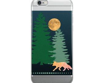 Fox & Moon Cell Phone iPhone Case 6 Plus, 6/6s, 7 Plus, 8 Plus 7/8, X Foxes Woodland Creature Woods