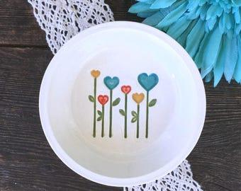 Ring Dish - Love Grows - Ceramic Ring Bowl, Ring Holder Dish, Jewelry Dish, Jewelry Holder, Trinket Bowl, Decorative Dish, Catch All Dish