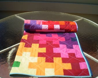 Handmade baby quilt, Rainbow baby quilt, baby quilt, Puzzle quilt, patchwork crib quilt, baby boy quilt, baby girl bedding, Rainbow Puzzle