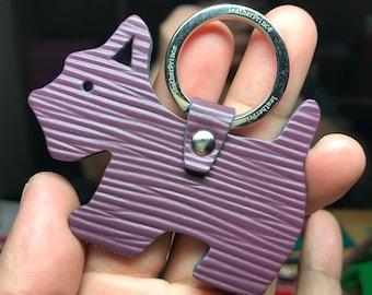 Small size - Scottie silhouette dog Epi leather keychain ( Deep purple )