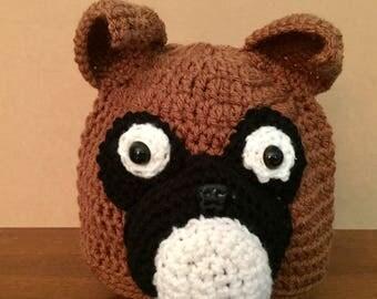 Crochet Hat // Boxer // Beanie // Handmade // Dog //