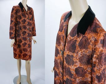 1960s Vintage Coat Brown and Gold Floral Pattern Weather Rain Outerwear B40 W42 Sz M-L