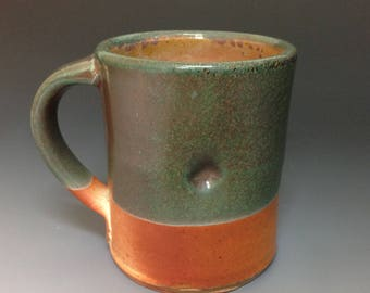 Coffee Mug Tea Mug  Copper Green Glaze Soda Fired Stoneware Pottery