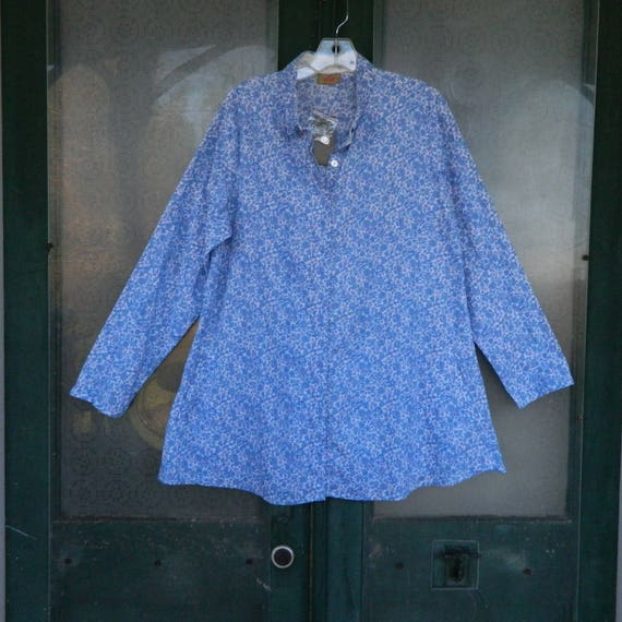 SALE 25% OFF Original Price - Tulip Long-Sleeve Blouse with Pockets -S- Blue White Calico Floral Cotton NWT