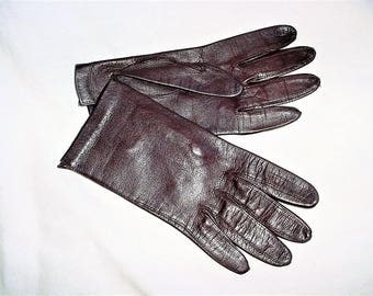 Vintage 60s Brown Leather Gloves S Wrist Length As Is