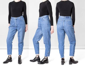 HIGH WAIST JEANS mom jeans VinTagE pants women Boyfriend denim Ankle zippers blue relaxed fit / size 12 / waist 33 34