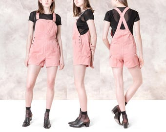 BUGLE BOY cotton OVERALL shorts Pink vintage women 90s denim Summer / Size small
