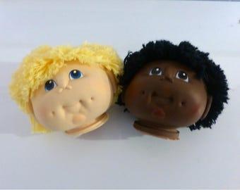 The Original Doll Baby, Doll Head by Martha Nelson Thomas 1984 Fibre Craft Choice of Black or Yellow Hair