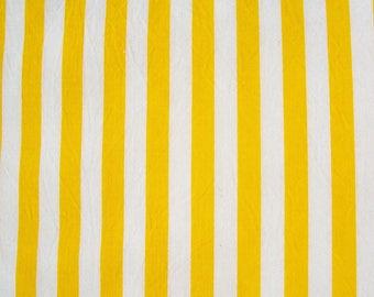 Vintage Decorator Fabric Yellow White Striped Cotton
