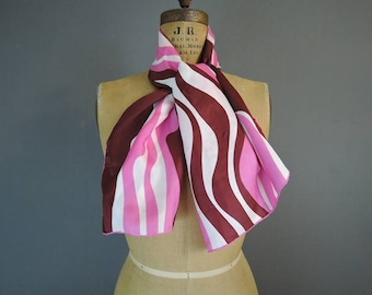 Vintage Scarf Pink & Burgundy Silk and Rayon with Rolled edges, 42x14 oblong