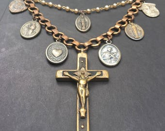 Religious Statement Necklace Catholic Jewelry Assemblage Necklace Bib Necklace DanielleRoseBean Saint Medals Assemblage Jewelry