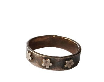 Silver Star Ring, Sterling Silver Ring, Ring With Stars, Metal Clay Jewelry, Rustic Ring, Patriotic Ring, Star Jewelry, Made in USA