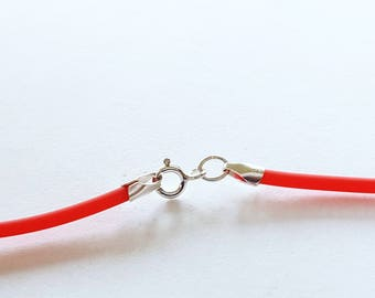"""Red Cord Necklace, Rubber Cord Necklace, Plain Cord Necklace, Rubber Cord 2mm, Sterling Clasp, Interchangeable, 16"""" 18"""" 20"""" 22"""" 24"""""""