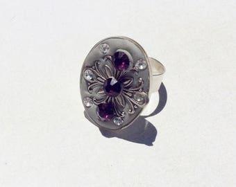 On Sale Adjustable silver oval ring.Amethyst swarovski rivolis.Clear rhinestones.Statement ring.