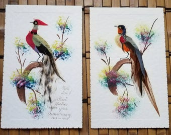 Pair of Vintage Real Feather Bird Greeting Cards - Made in Mexico