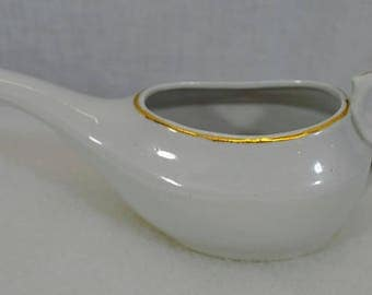 Vintage  White Ceramic China with Gold Trim - Invalid or Baby Feeder - Antique - Made in Germany