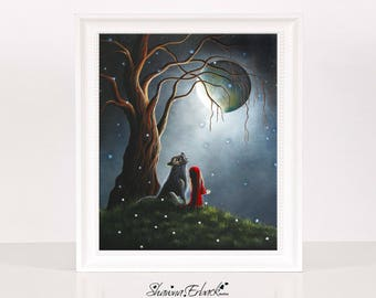Night With The Lone Wolf - Red Riding Hood - Art - Prints - Fine Art Print - Signed - Limited Editions - Fantasy Fairytales - Stories - Wolf