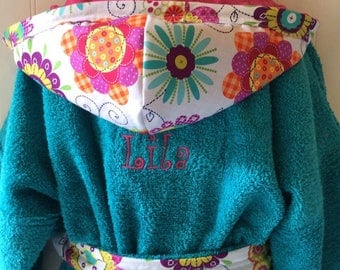 Girls-Bath-Robes-Girl-Robe-Flower-Spa-Beach-Hooded-Terry-Towels-Swim-Suit-Cover Up-Shower-Birthday-Holiday-Baby-Toddler-Teen-Kids-Gift-Gifts