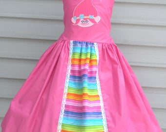 Ready to Ship Custom Trolls Pink Poppy Girl dress  will fit Size 5 or 6