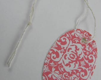 Summer Sale Small Oval Tags Pink Damask pack of 100 Prestrung Tags