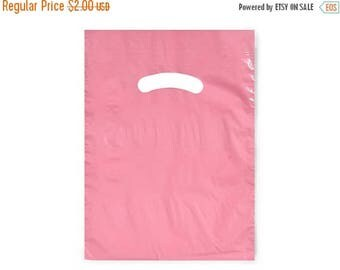 Summer Sale CLEARANCE sale 50 Pack Light Pink Opaque Cut Out Handle 9 X 12 Inch Size Retail Merchandise Plastic Bags