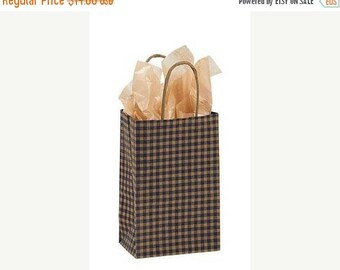 STOREWIDE SALE 25 pack Blue and Kraft Gingham Recycled 5.25 x 3.5 x 8.5 inch Paper Handle Bags