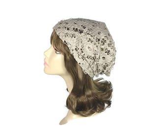 Lace Slouchy Hat Beige Lace Hat Summer Lace Hat Lightweight Lace Beanie Boho Beanie Tan Hat Custom Size Women's Hats Lace Slouch Hat