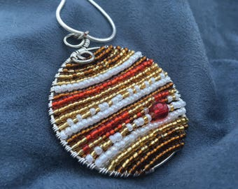 Beaded Jupiter Planet Pendant 18-Inch Necklace Ornament -- Space Astonomy Gift Ornament