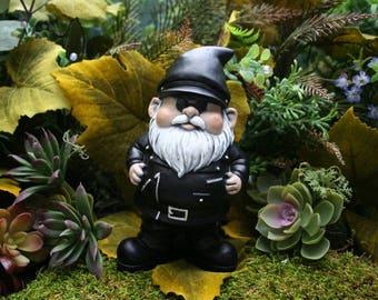Biker Gnome, Concrete Motorcycle Gnome, Harley The Biker Garden Gnome Rides  Again!
