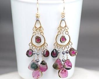 Summer SALE Watermelon Tourmaline earrings ,  Tourmaline slice vermeil chandelier earrings, Peacock Grey Pearls, Vermeil hooks ... PHOEVE Ea