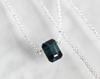 Indicolite Blue Tourmaline Necklace Solitaire - Blue Tourmaline Rectangle Cut in Solid Sterling