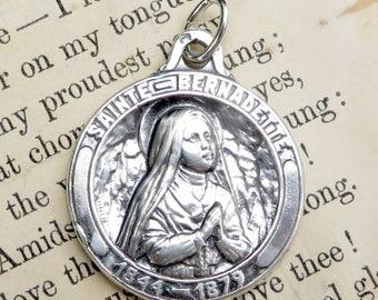 St Bernadette medal - Patron of sick people - Antique Reproduction