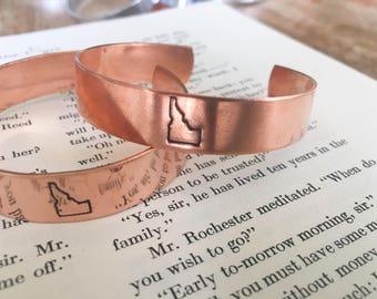 Idaho Stamped Copper Bracelet