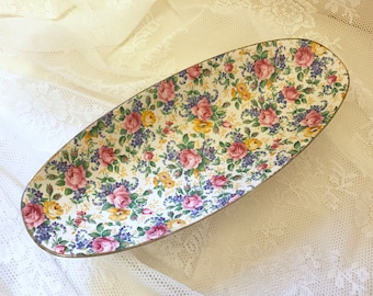 Gorgeous oval chintz serving display dish tray