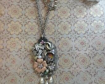 Handmade Vintage Collage Necklace