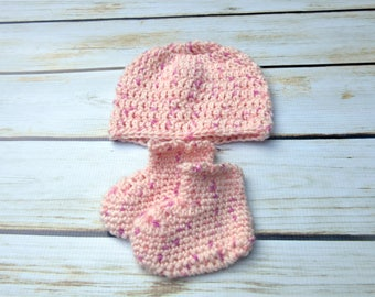 Baby Girl Hat and Bootie Set, Gender Reveal, Its A Girl, Coming Home Outfit, Infant Girl Layette, Newborn Girl Clothes, Beanie and Booties
