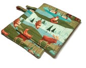 Handmade Quilted  Pot Holders set of 2 Forest Animals Sky Grass Outdoors Field