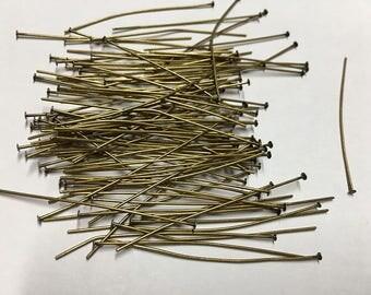 Head Pins 100 Antique Bronze Antique Brass 2 inch Headpins 21 gauge F323