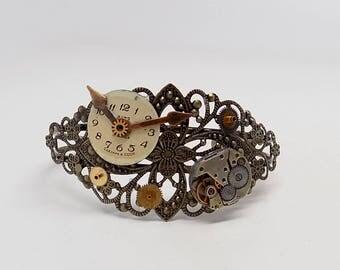 Steampunk brass cuff.