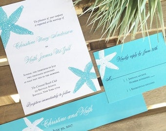 Beach Wedding Invitation Starfish Set Tropical